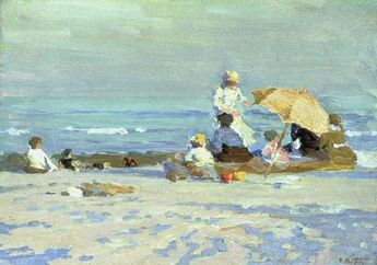 Impressionist+Beach+Paintings   Edward Potthast, Beach Scene, c. 1915, oil on panel, 11 x 15 7/8 ...