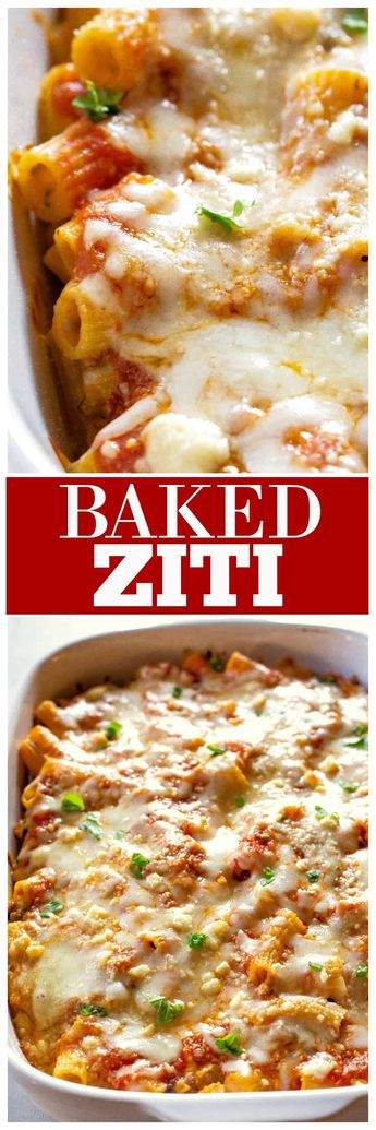Italian baked Ziti made with pasta, lots of cheese, basil, and sausage in a creamy sauce. #baked #ziti #casserole #italian the-girl-who-ate-everything.com