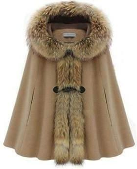 Hooded Faux Fur Warm Coat For Women, Camel, Deep Grey