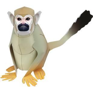 Squirrel Monkey,Animals,Paper Craft,North America / South America,yellow,Mammals ,Animals,monkey,Paper Craft,Pet series,easy,Primates