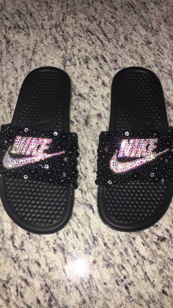 pretty nice 3a904 7b70e Bling Nike Slides w  Swarovski Crystals   Pearls