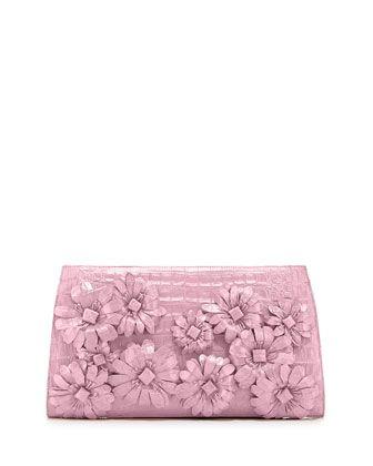 46bfc9e14fa0 Slicer Flower-Applique Crocodile Clutch Bag