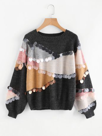 Sequin Decoration Contrast Sweater EmmaCloth-Women Fast Fashion Online