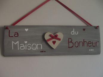 """pancarte en bois """"la maison du bonheur"""" - fait main : Décorations murales par ptitecrea"""