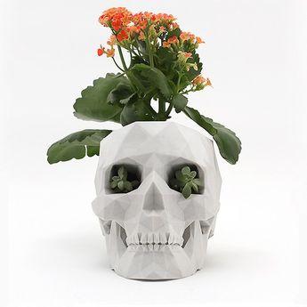 3D-Printed Skull Planter
