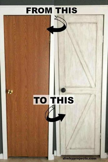 Turn Your Hollow Core Door Into A Barn Door Great ideas for pantry and bathroom doors.