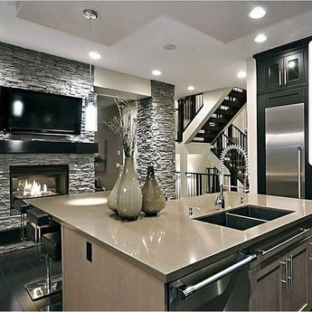 Stunning design ! Love the lights... So Awesome ! Love it !  Kitchen Ideas