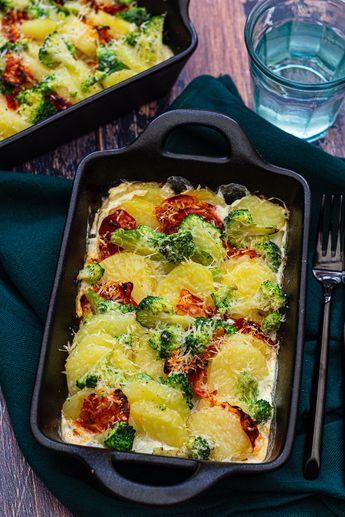 Gratin de pommes de terre au brocoli et chorizo