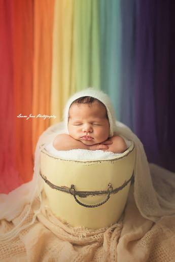 Rainbow baby, rainbow newborn photography