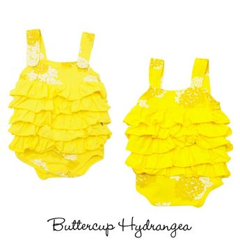 Layered Bubble Romper in Buttercup - Kicky Pants