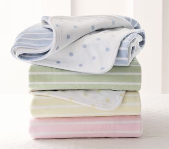 Dot & stripe light pink chamois blanket
