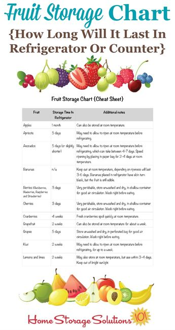 Fresh Fruit Storage Tips For Your Refrigerator & Counter {Includes Free Printable Chart}