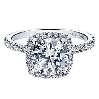 18k White Gold Round Halo Diamond Engagement Ring #ER12133