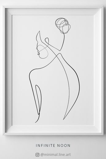 Naked Abstract Body, Female Nude Drawing, One Line Body Art, Minimal Single Line Doodle Artwork, Printable Wall Art, Beauty Feminine Print
