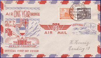Bridges collection Berlin anniversary 1949 air lift, postmark Berlin 23. 6. 49, very decorative document;    Dealer  GEBRÜDER MICHEL NACHF.    Auction  Minimum Bid:  15.00EUR