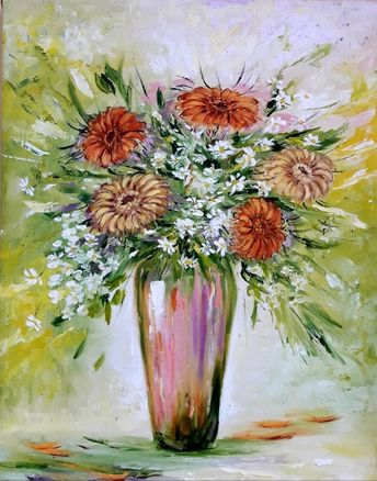 """Original oil Painting on canvas,Flowers in a vase 19.6""""x15.6"""" Summer bouquet, Gift for her"""