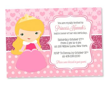 Product Sleeping Beauty Invitation Princess Party Aurora Invite