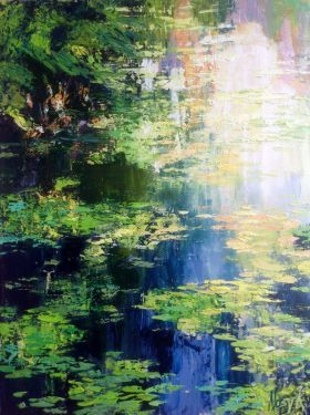 River water. Waterlilies abstract painting by Natalia Nosyk
