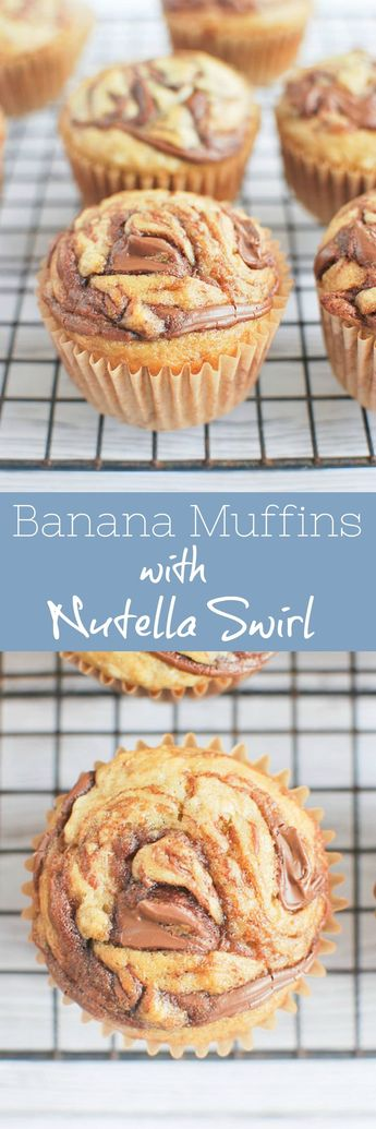 Banana Muffins with Nutella Swirl - soft and fluffy banana muffins with a nutella swirl on top!