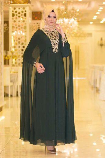 9e8118f0d9bc8 NEVA STYLE - Neva Style - Pelerinli Önü Dantelli Yeşil Tesettür Abiye Elbise  52571Y