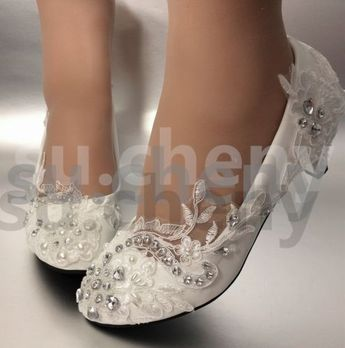 su.cheny Lace white ivory pearls flats low high heel pumps Wedding Bridal shoes