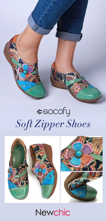 SOCOFY Folkways Floral Pattern Genuine Leather Splicing Jacquard Comfortable Zipper Flat Shoes.#womensandal #summerfashion