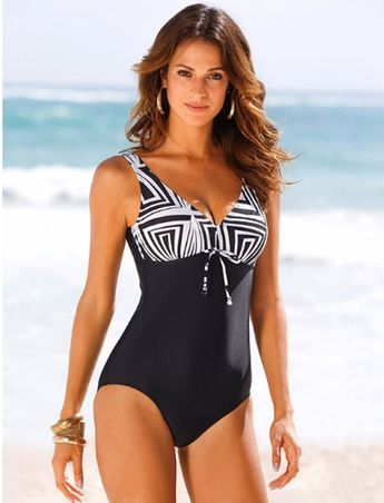 Ladies Tqskk One Piece Swimsuit In Color Black /White In Sizes 10-20