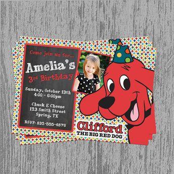 Clifford the Dog Chalkboard Birthday Invitation Digital File; You Print on Etsy, $8.99