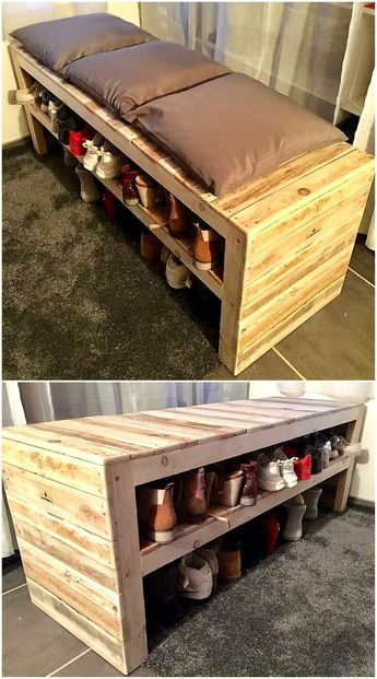 Pallets wooden shoe rack seat is multi-purpose in its usage. This pallet project is good enough to use it your shoe shops and also best to keep this in your home. With this wood pallets creation you can easily place your all shoe pair in one place and by placing some soft cushions on it, it will be a complete sitting bench.