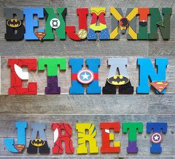 Hand painted superhero letters for kids room, nursery decor, kids marvel wall art, superhero decor g