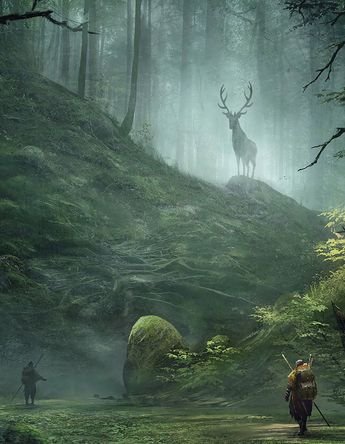 Two adventurers encountering an Aldarwood stag. Aldarwood deer are at least twice the size of even the largest normal stag, and are considered Sigdelva's personal agents in the Forest. They guard it against threats and imbalances. Many people think they're not even flesh and blood animals, but are instead spirits. No one knows for sure; they disappear before anyone can touch them.