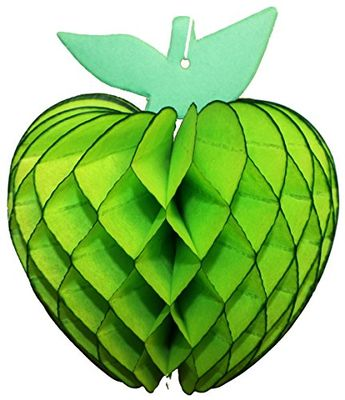 Lime green 7 inch honeycomb tissue paper apple decoration, made in USA by Devra Party.
