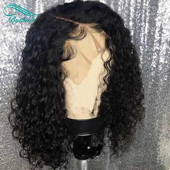 Lace Front Human Hair Wig Curly Pre Plucked Hairline Brazilian Remy Hair Full Lace Wig Deep Curly With Baby Hair