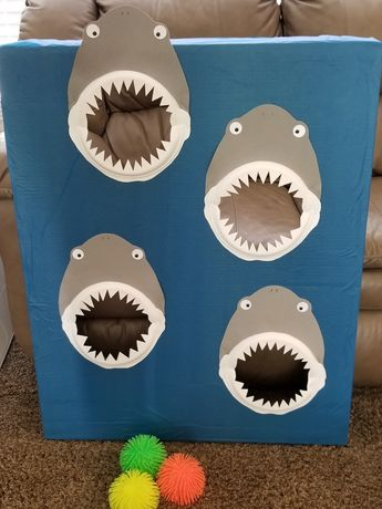 Shark Attack Spikey Ball Toss - ocean themed carnival Game made with paper plate shark jaws