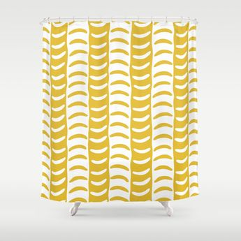 Buy Wavy Stripes Mustard Yellow Shower Curtain By Tonymagner Worldwide Shipping Available At Society6