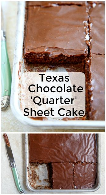 Texas Chocolate Sheet Cake, made smaller! A quarter sheet cake that serves 4-6 people. Small cake recipes for the win! #texaschocolatesheetcake #chocolatecake #texas #dessert #cake #cakerecipes #cakefortwo #smallcake #southerndesserts #southerncake #sheetcake #warmfrosting via @dessertfortwo