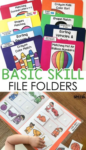 Basic skills file folders that focus on colors shapes letters numbers categories matching and errorless tasks for special education, early childhood education, pre-school or kindergarten! #specialeducation #elementaryeducation