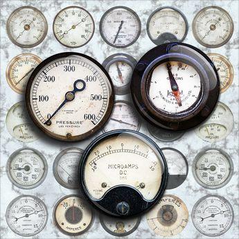 37f0e680c5b50 Vintage INDUSTRIAL METERS - steampunk dials,gauges and mete