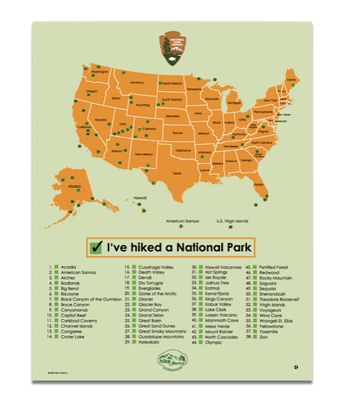 I really want to get this, especially since we've been to some already, what a great visual!  We have a lot of National Parks in America. Have you visited them all? National Parks Map