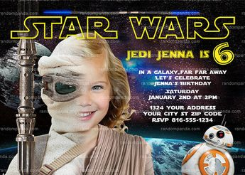 Personalize Star Wars Invitation Rey Party Force Awakens Birthday Invite Girl