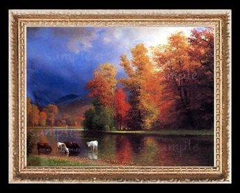 Fall Colors On The River Miniature Dollhouse Art Picture 6212