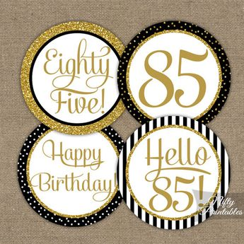 85th Birthday Cupcake Toppers - Black & Gold Glitter - 85th Bday Party Printable - Elegant 85th Birthday Favor Tags Eighty Five BGL