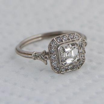 Bague De Fiançailles 2018/2019 - Bague de fiançailles Vintage Asscher Cut Diamond - Diamond Halo - 1.01 carat - GIA