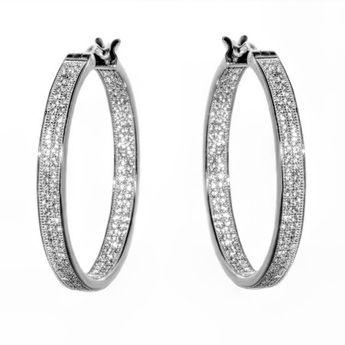 020969ef5 Pori Jewelers CZ 18kt White Gold-Plated Sterling Silver Hoop Earrings,  Women's