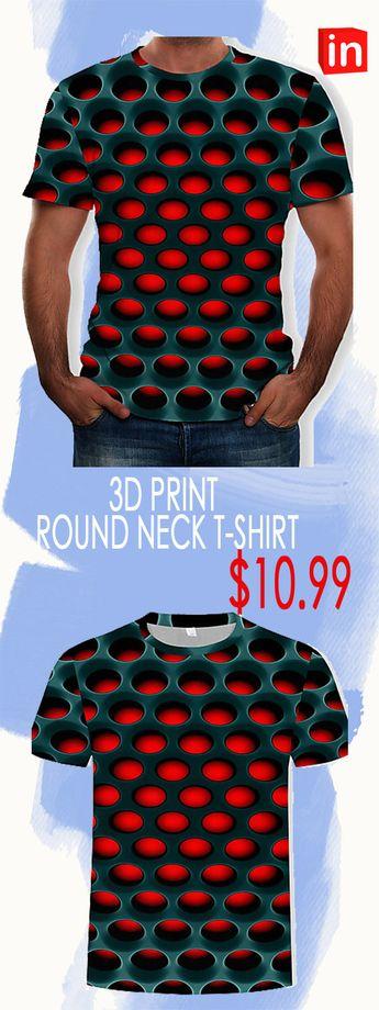 [$11.99] Men's Cotton T-shirt - 3D Print Round Neck Purple XXXXL / Short Sleeve