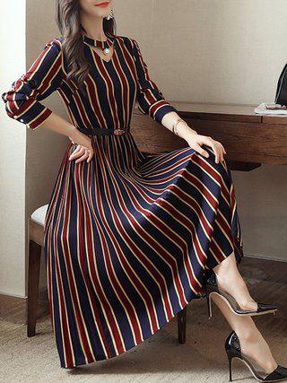 Plus Size Choker Neck Women Dress Party Long Sleeve Striped Dress