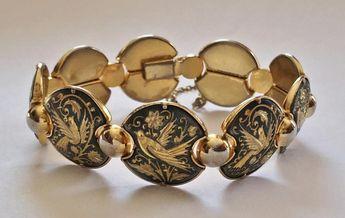 Vintage, Spanish DAMASCENE Gold Plated, Linked BRACELET - Birds & Flowers