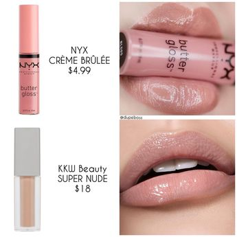 """@dupeboss on Instagram: """"❗️D U P E P R O O F❗️ we found ANOTHER perfect dupe to @kkwbeauty SUPER NUDE LIP GLOSS ($18, swatched by @rebellebeautyx ) from…"""""""