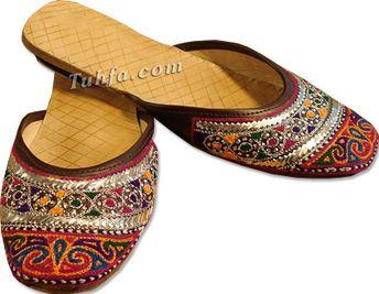 Ladies Slip-on Khussa- Multicolor | Buy Pakistani Shoes and Dresses