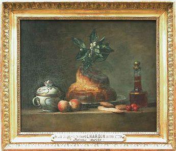 Jean-Siméon CHARDIN - La bricohe - 1751 - Louvre (après avoir peint surtout des ustensiles les plus quotidiens, se plaît, dans les natures mortes de la maturité, à décrire des objets rares ou précieux, comme ici un sucrier de porcelaine, un carafon en verre taillé)